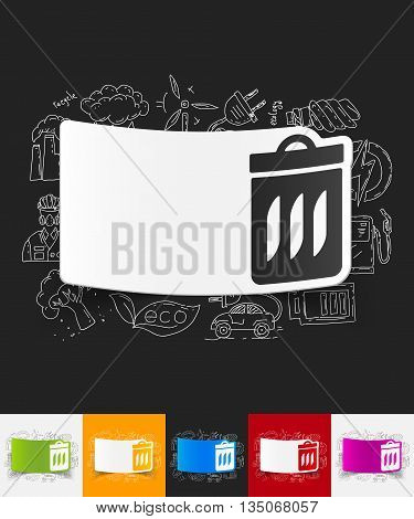hand drawn simple elements with trash can paper sticker shadow