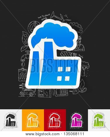 hand drawn simple elements with factory pipes paper sticker shadow