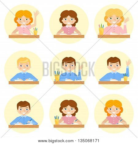 schoolchild avatar flat vector cartoon illustration. School