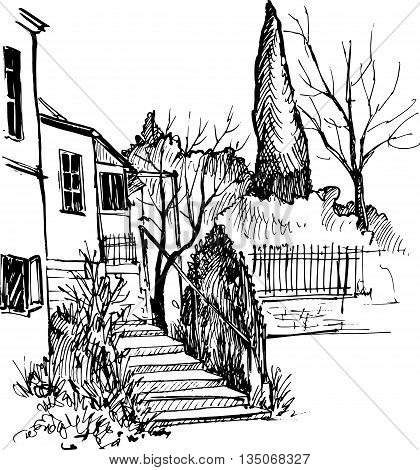 house in a park with stairs and cypress trees, urban sketch, stairway in garden, hand drawn vector illustration by ink pen