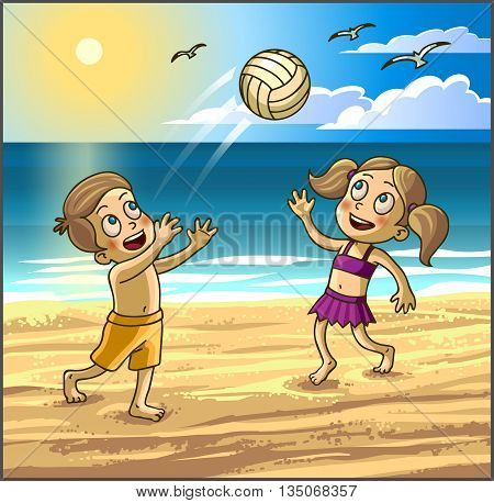 Childrens summer activities. Happy kids boy and girl are playing with ball on summer beach. Vector Illustration.