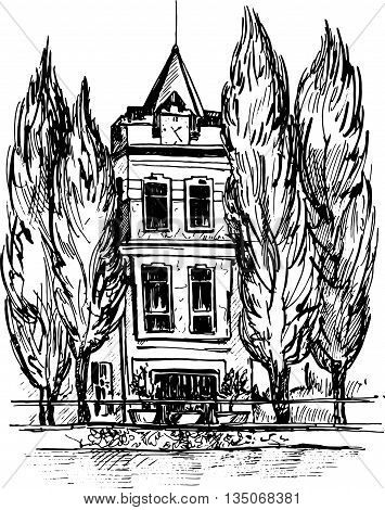 three-story mansion with a clock on the tower, surrounded by cypress trees, urban sketch, house in the park, hand drawn vector illustration by ink pen