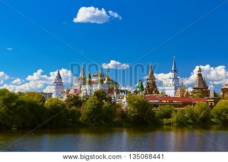 Izmailovo Kremlin and lake - Moscow Russian - travel background