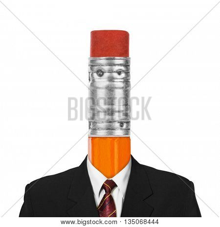 Pencil instead head isolated on white background