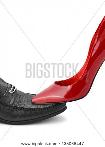 Man and woman shoes isolated on white background