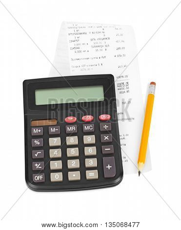 Check and calculator isolated on white background