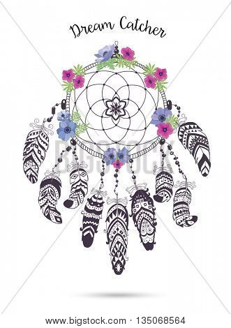 Native American Indian Talisman Dream Catcher with Feathers and Flowers. Vector Ethnic Design, Boho Style. Dream Catcher isolated on white Background.