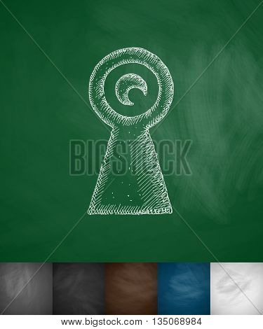 keyhole icon. Hand drawn vector illustration. Chalkboard Design