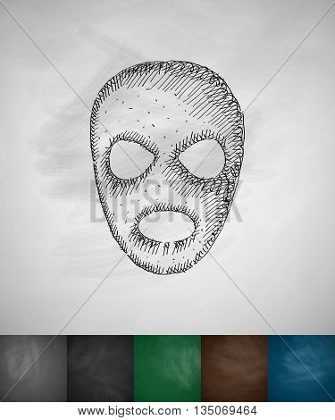 mask icon. Hand drawn vector illustration. Chalkboard Design