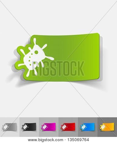 bacterium paper sticker with shadow. Vector illustration