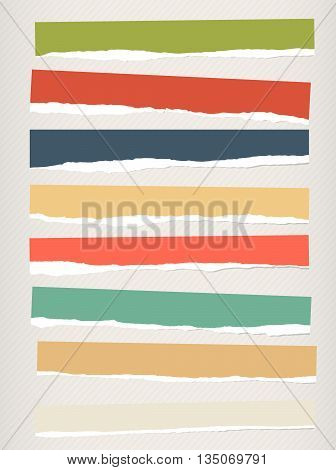 Pieces of torn colorful blank paper are stuck on striped background.