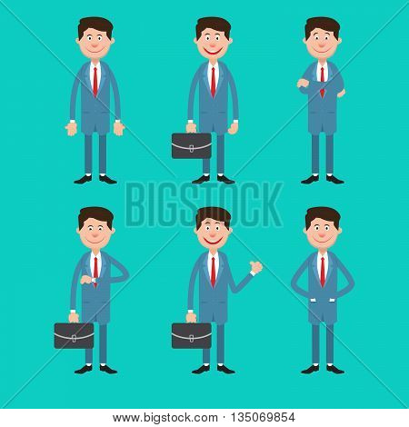 Modern Business Man in Different Poses with Briefcase. Vector illustration