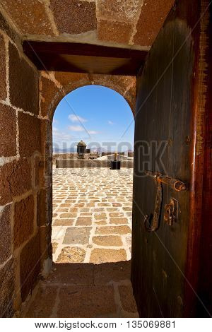 In Teguise Arrecife Lanzarote Castillo     The Old Wall Castle  Tower And Door