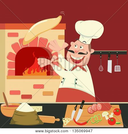 Chef is Making Pizza in the Furnace. Pizzeria Kitchen. Vector illustration