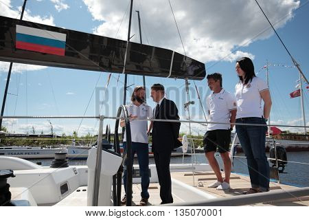 ST. PETERSBURG, RUSSIA - JUNE 4, 2016: Chairman of the Management Committee of Gazprom Alexey Miller on the yacht Bronenosec participating in the Nord Stream Race. Five teams compete in the race