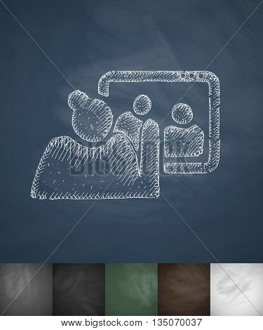 communication with children icon. Hand drawn vector illustration. Chalkboard Design