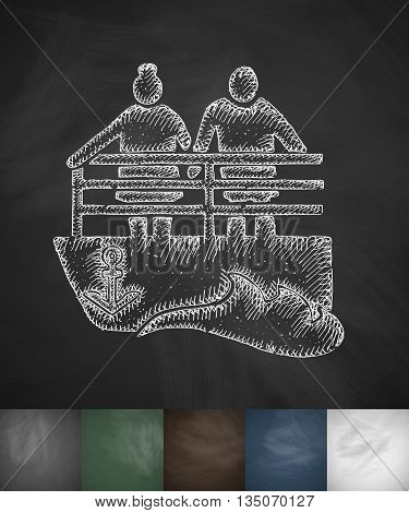 old men on the bench icon. Hand drawn vector illustration. Chalkboard Design
