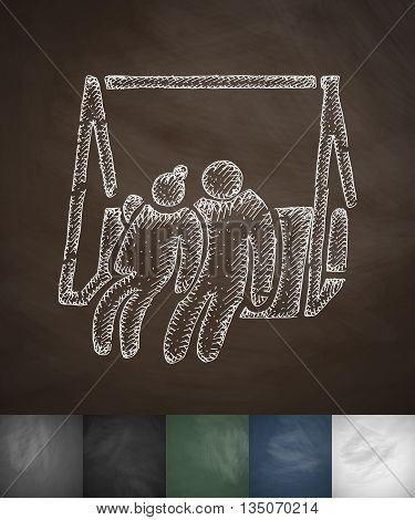 elderly on swing icon. Hand drawn vector illustration. Chalkboard Design