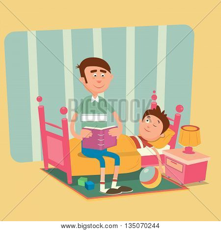 Father is Reading a Book to his Son for a Good Night. Vector illustration