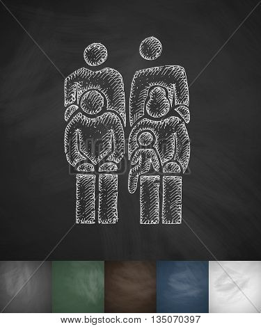 family icon. Hand drawn vector illustration. Chalkboard Design