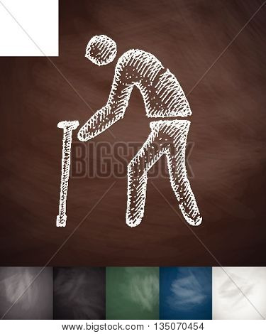 old man with cane icon. Hand drawn vector illustration. Chalkboard Design