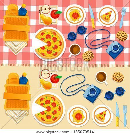 Set picnic on the grass vector illustration. Picnic basket, pizza, camera, apple, sandwich, checkered tablecloth. Happy weekend