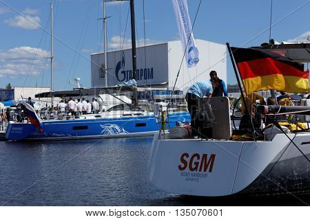 ST. PETERSBURG, RUSSIA - JUNE 4, 2016: German team prepare the yacht SGM to the Nord Stream Race. Five teams on the Swan 60 yachts compete in the race this year