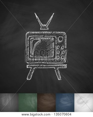 pensioners watch TV icon. Hand drawn vector illustration. Chalkboard Design
