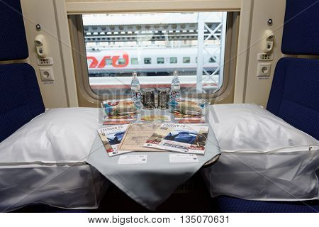 ST. PETERSBURG, RUSSIA - MAY 28, 2016: Interior of the double-decker train Mikhail Ulyanov in the day of its first departure from St. Petersburg to Adler. The train is operated by Russian Railways