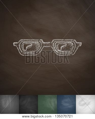 glasses icon. Hand drawn vector illustration. Chalkboard Design