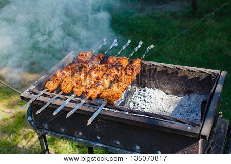 Juicy slices of meat with sauce prepare on fire.