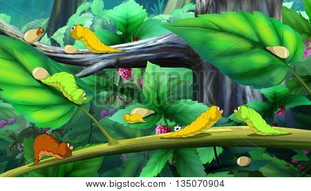 Beautiful Caterpillars Crawls on a Tree. Digital painting cartoon style full color illustration.