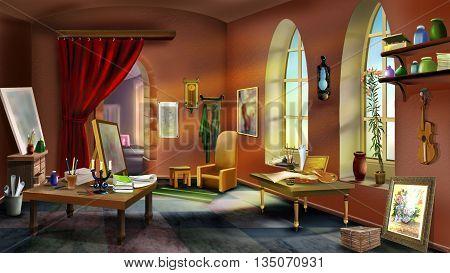 inside the artist's studio. Digital Painting in Realistic Cartoon Style