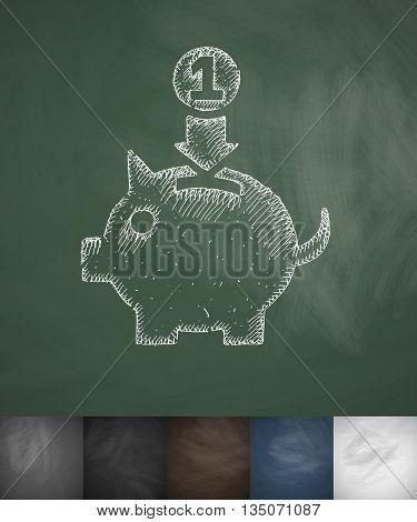 money box icon. Hand drawn vector illustration. Chalkboard Design