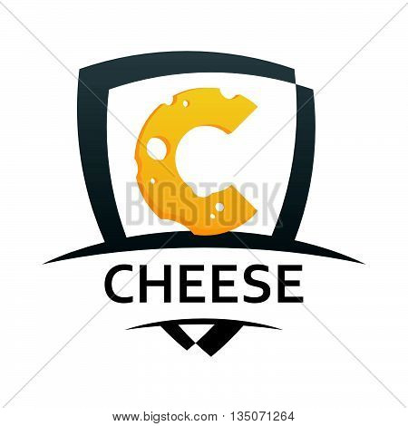 Vector Cheese Emblem, Coat of Arms with Caption and Illustration of Cheese isolated on white