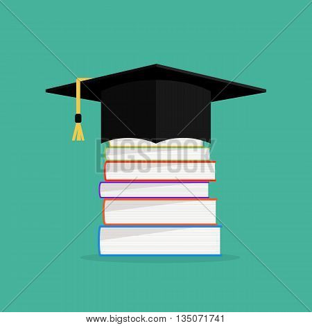 Academic books with hat on they. Graduation cap with books concept design. Vector illustration