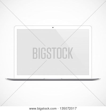 laptop white color with blank touch screen isolated on the grey background. stock vector illustration eps10
