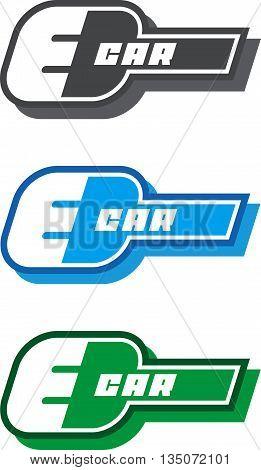 E-car logo, eco car color,  concept, green