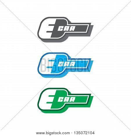 E-car logo eco car color, concept, green