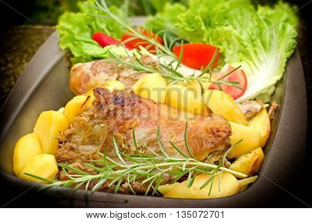 Home made roasted lamb and roasted potato