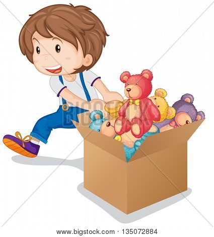 Little boy pulling box of teddy bears illustration