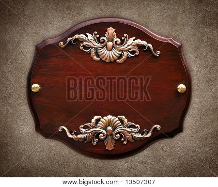 sinal de madeira elegante na parede