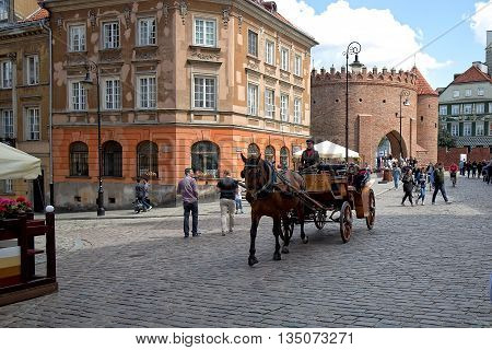 Warsaw, Poland - June 11: Cab on the street of Warsaw on June 11, 2016 in Warsaw, Poland