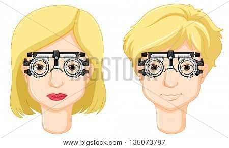Man and woman having eyes checked