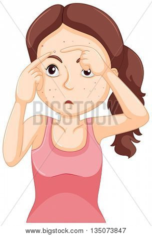 Teenager girl squeezing zit illustration