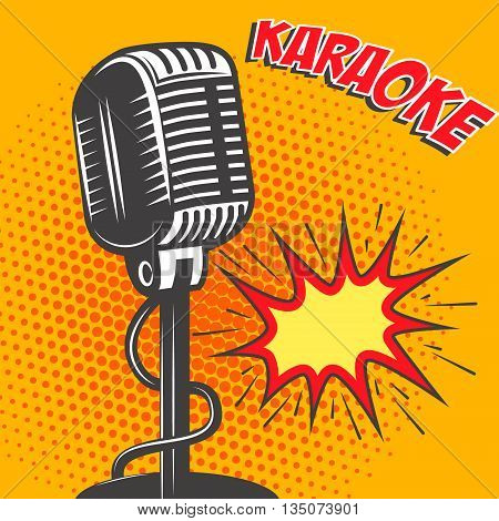 Karaoke. Old style microphone on pop art style background. Vector illustration