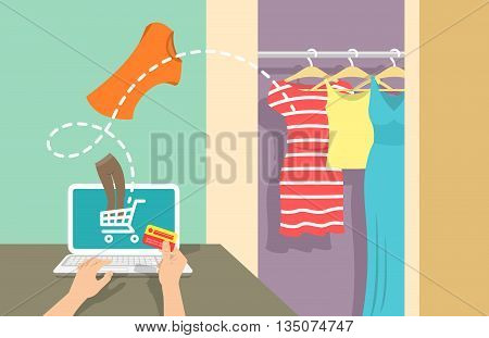 Online shopping flat vector banner. Web store marketing concept. E-commerce background. Woman buys clothes on website using computer. Summer sales concept. Electronic commerce illustration