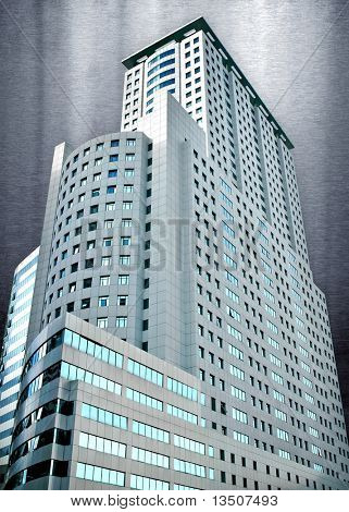 modern building with montage background