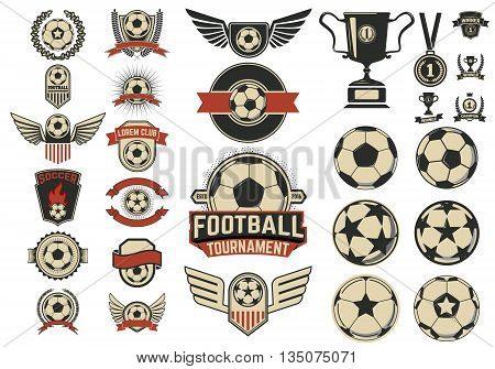 Set of football labels and design emblems isolated on white background. Soccer tournament. Vector design elements for logo label emblem.