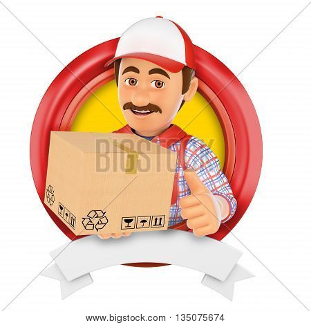 3d logo illustration. Courier service. Messenger. Isolated white background.